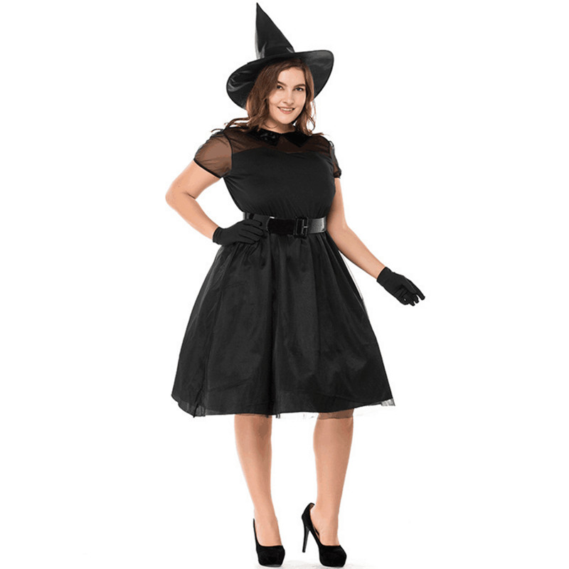 High Quality Large Size Black Witch Costume Grim Reaper Scary Adult