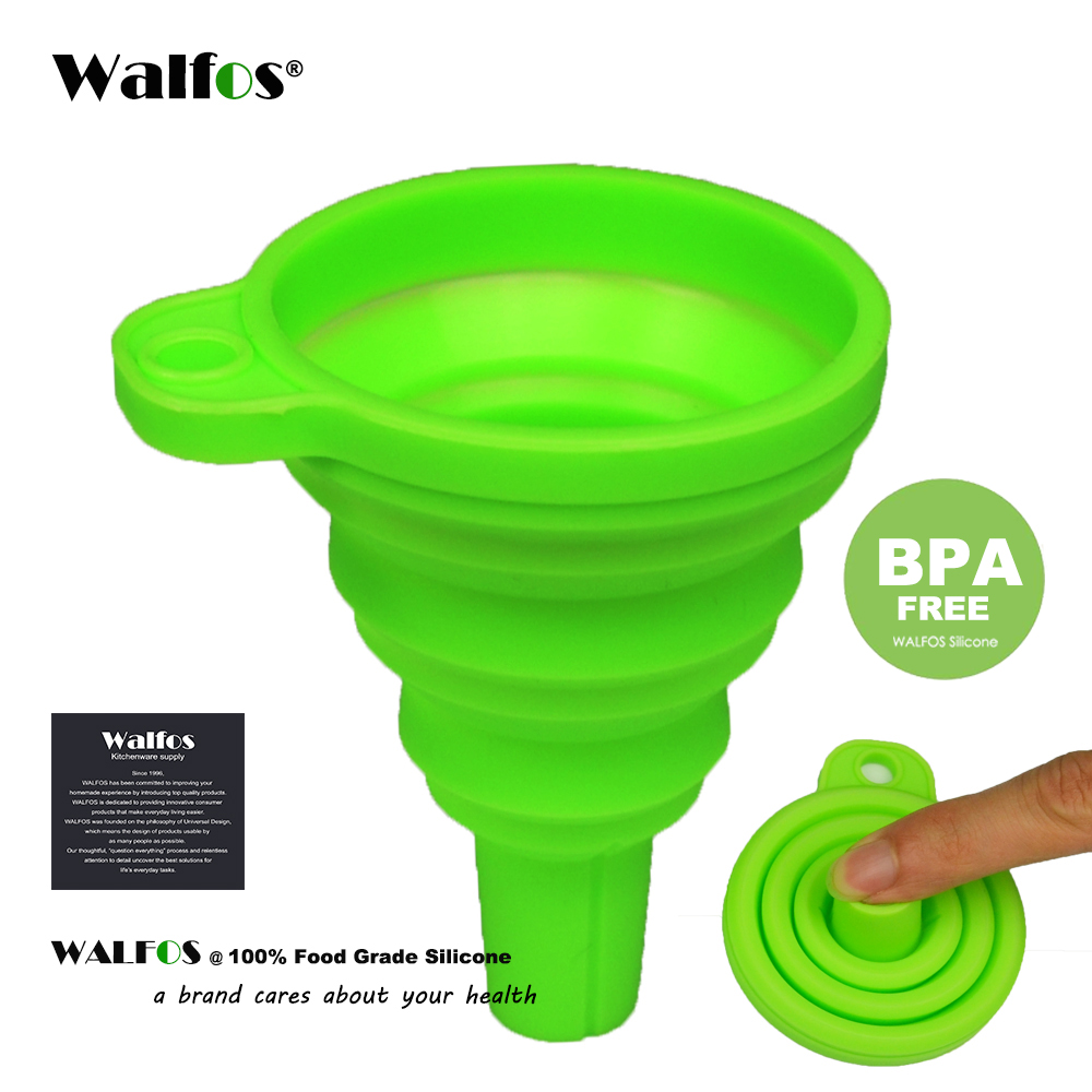 WALFOS food grade 1 piece Mini Silicone Gel Foldable Collapsible Style Funnel Hopper Kitchen garden cooking accessories tools(China)