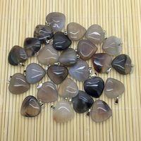 Оптовая продажа Натуральный камень сердца Талисманы серых агатов 20 мм кулон сердце, 50 шт./лот DIY Серьги ювелирные изделия