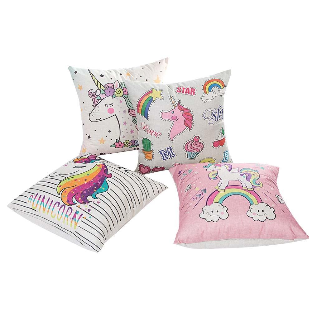 Image 3 - 45x45CM Cartoon Unicorn Pillow Case Childlike Rainbow Cute Print Cushion Cover Decorative Throw Pillowcase Car Sofa Home Decor-in Cushion Cover from Home & Garden
