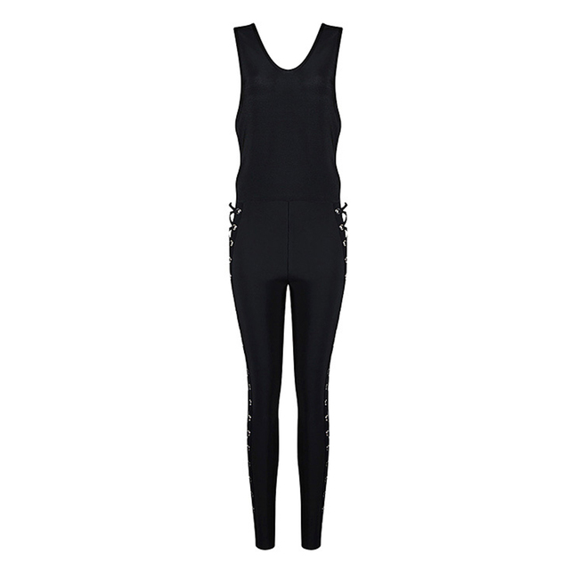 Celebrity Runway Party Jumpsuits For Women Black Sleeveless Hollow Out Rompers Jumpsuit Sexy Bodycon Bodysuit 5