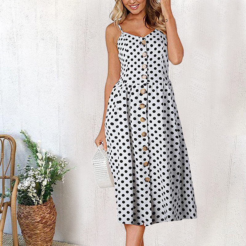 e825f18654d Casual Vintage Sundress Women Summer Dress 2019 Boho Sexy Dress Midi Button  Backless Polka Dot Striped Floral Beach Dress Female