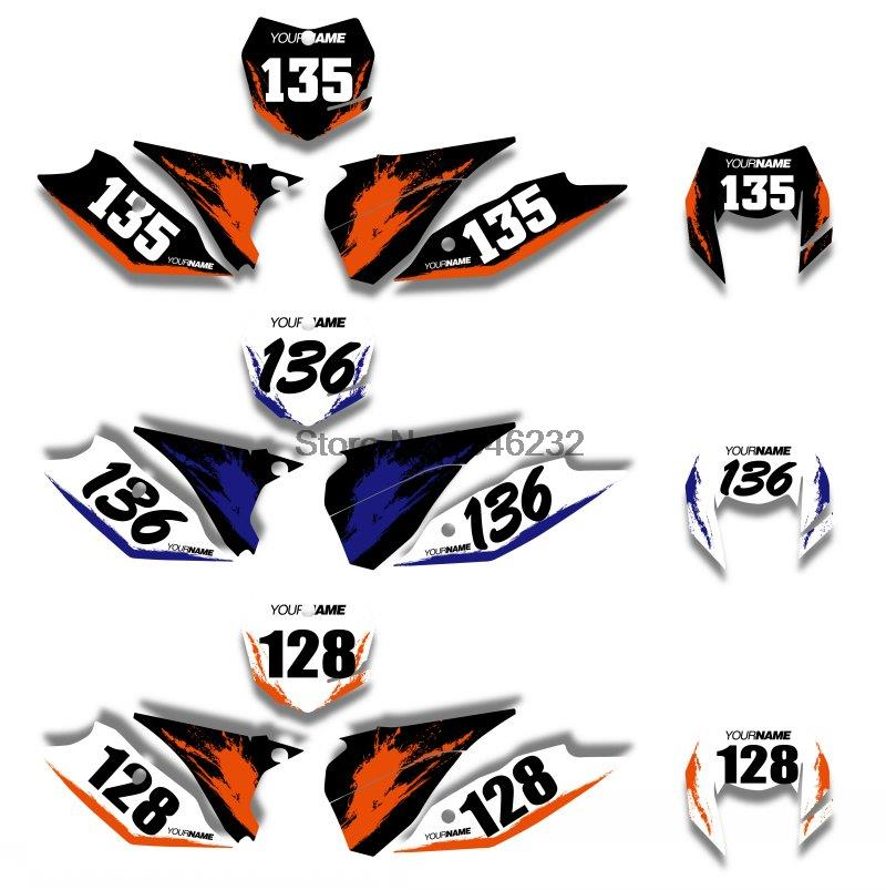 Nicecnc custom number plate background graphics sticker decal for ktm 125 200 250 300 450 500 exc 2014 2015 2016 in decals stickers from automobiles