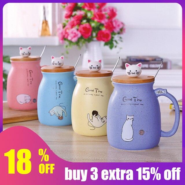 Креативный милый кот кружка чашка термостойкая мультфильм таза с крышкой котенок кофе керамические кружки детская чашка офисная кружка подарок