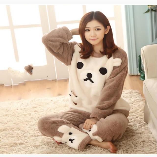 2016 de inverno mulheres pijama de flanela animais conjuntos de pijama feminino pijamas urso/menina/coral do velo