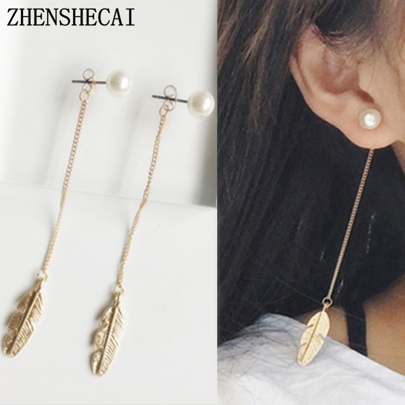 694ae54a1 Long Drop Tassel Earring Gold Color Hanging Leave Pendant Imitation Pearl  Simple Chain Earring Jewelry For