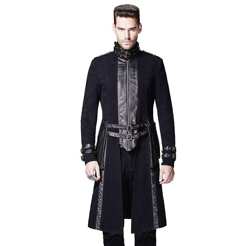 Steampunk Retro Men Coat High Collar Gothic Punk Black Casual Long Coats Warm Overcoats