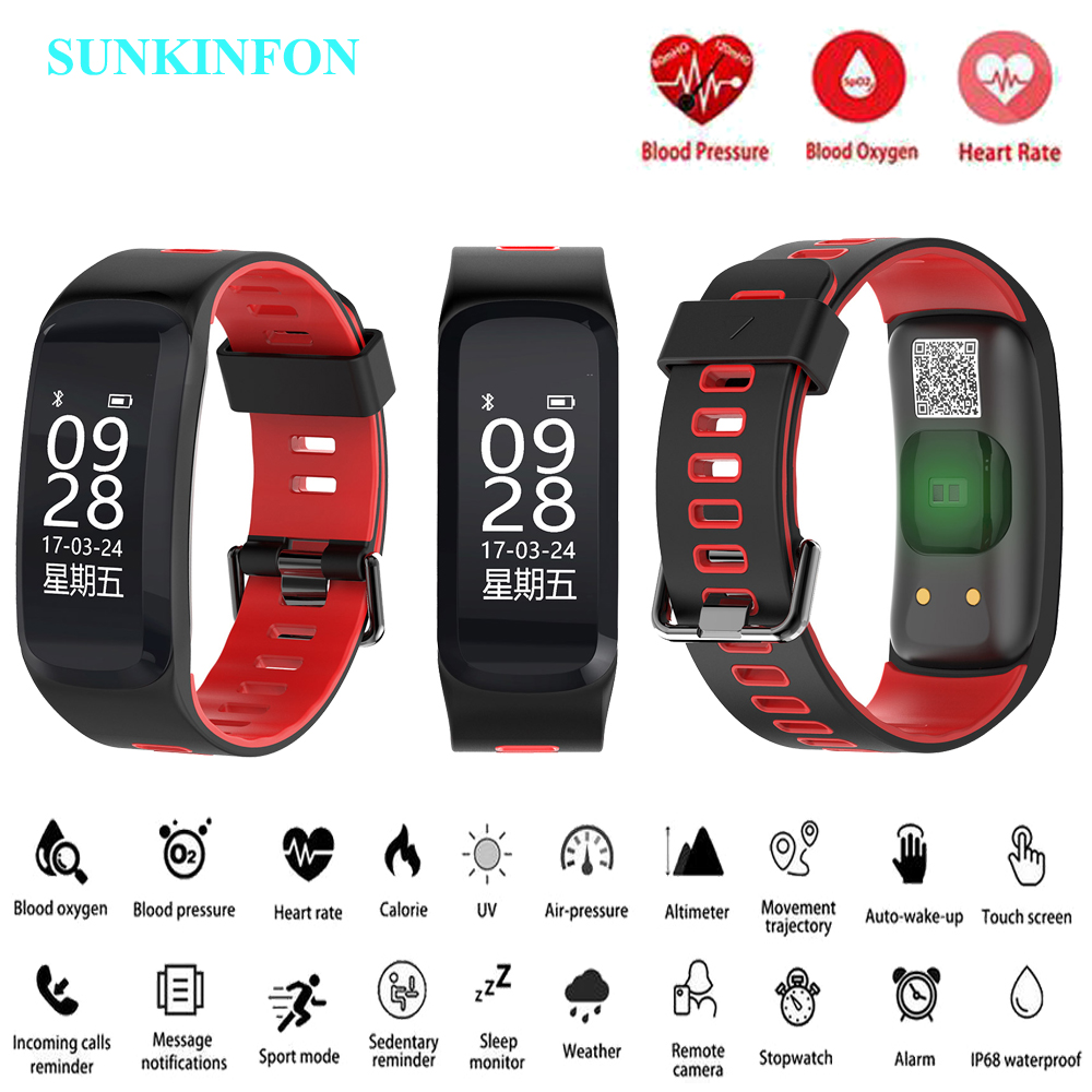 цена на F10 Smart Watch Bracelet Blood Pressure Blood Oxygen Heart Rate Monitor Fitness Tracker Smart Wristband for iPhone 7 Plus 6 Plus