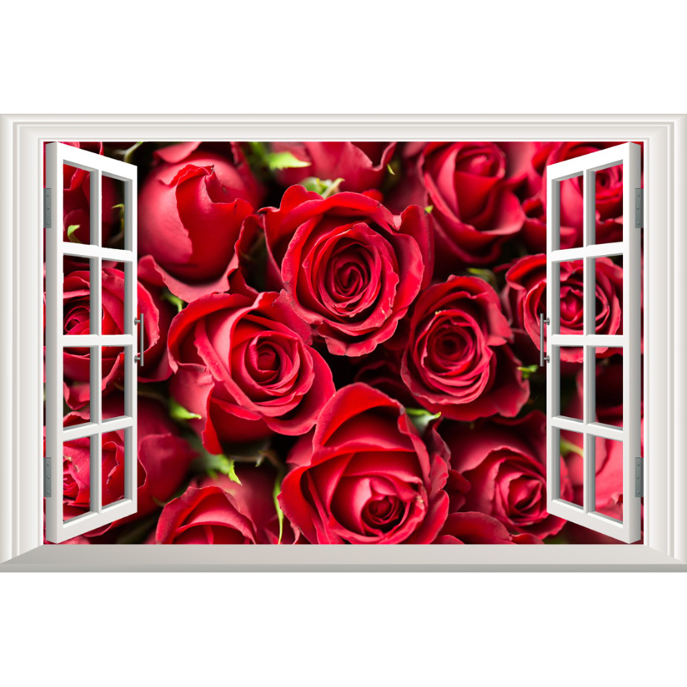 3 panels red roses wall murals wall stickers window stickers wallpaper decals home decoration 2018101123027 in wall stickers from home garden on