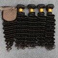 Малайзийский Глубокая Волна С Закрытия Малайзии Девственные Волосы 4 Расслоения С Шелковой Закрытия Малайзии Глубоко Вьющиеся Волосы Девственницы С Закрытием