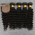 Malaysian Deep Wave With Closure Malaysian Virgin Hair 4 Bundles With Silk Closure Malaysian Deep Curly Virgin Hair With Closure