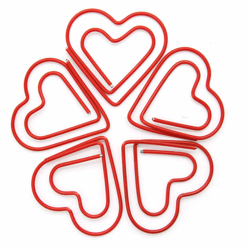 200pcs/lot Red heart-shaped Paper Clips Creative Interesting Bookmark Clip Memo Clip Shaped Paper Clips for Office School Home