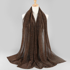 Image 2 - NEW shimmer pleated hijab scarf plain shiny crinkle shawl fashion muslim hijabs women maxi veils shawls islamic scarf 20color