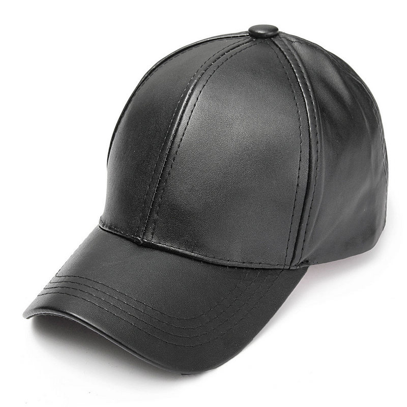 Unisex Solid Men Women   Baseball     Cap   PU Leather HIP HOP Snapback   Caps   Hats For Men   Baseball     Caps   2019 Black Adjustable Sun Hat