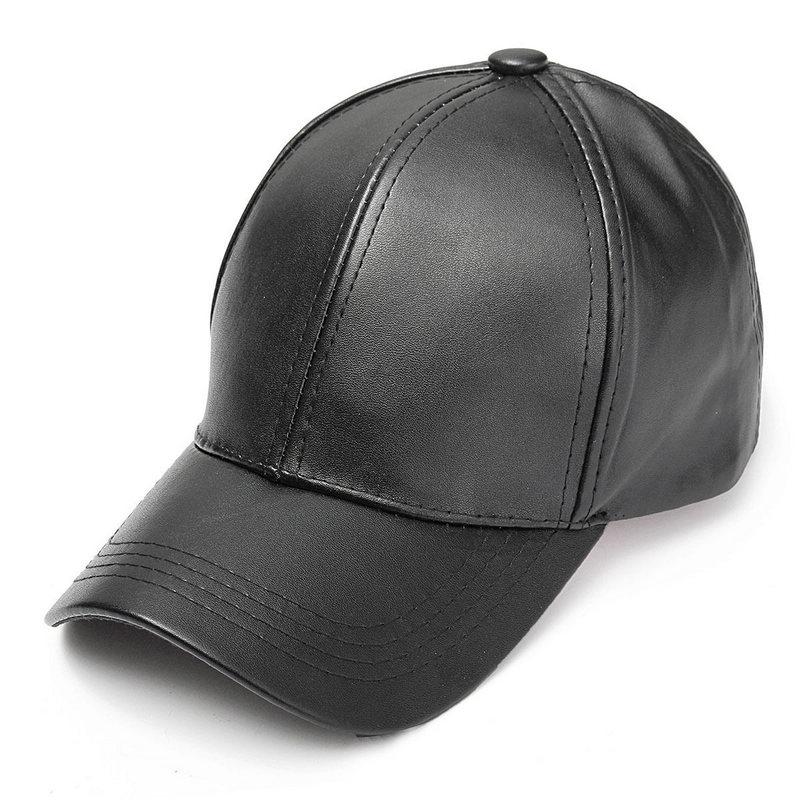 Unisex Solid Men Women   Baseball     Cap   PU Leather HIP HOP Snapback   Caps   Hats For Men   Baseball     Caps   Black Adjustable Sun Hat