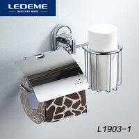 LEDEME Suporte do Papel Higiénico Com Cesto Em Aço Inoxidável Prateleira Fixado Na Parede e Suportes de Papel Multifuncional Banho Hardware L1903-1