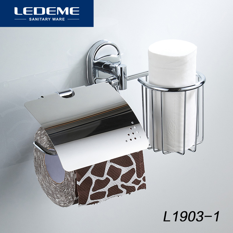 LEDEME Toilet Paper Holder With Shelf Wall Mounted Stainless Steel Basket and Paper Holders Multifunction Bath Hardware L1903-1LEDEME Toilet Paper Holder With Shelf Wall Mounted Stainless Steel Basket and Paper Holders Multifunction Bath Hardware L1903-1