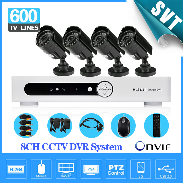 Home 8CH H.264 Surveillance DVR 4pcs IR Weatherproof Security Camera CCTV System Kit, iphone Andriod remote view SNV-02