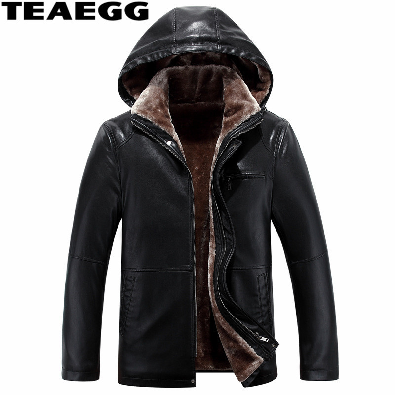 TEAEGG Black Faux Leather Jackets Men Jaket Homme Hat Detachable Chaqueta De Cero Hombre Fur Coat Man Clothes Overcoat WarmA1526