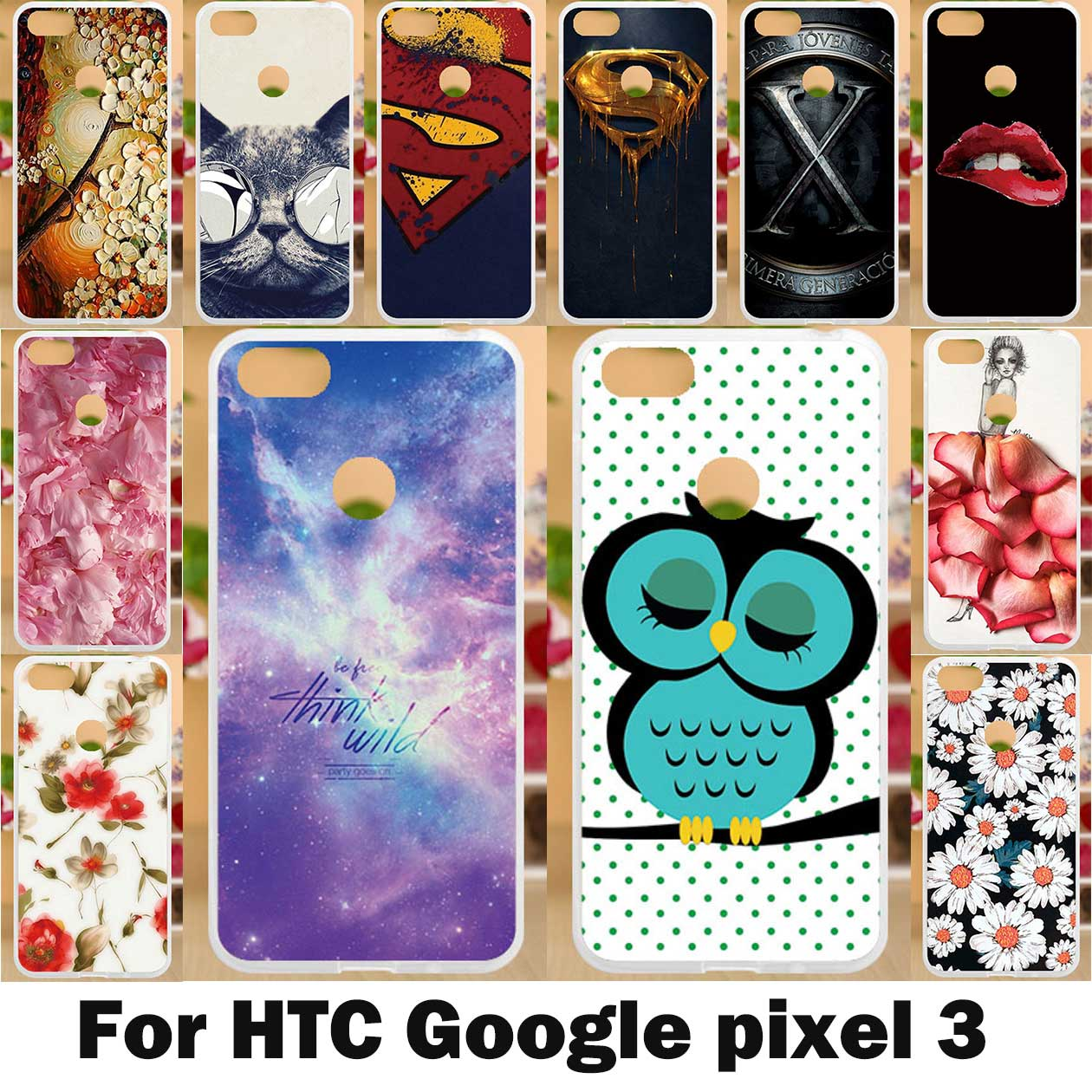 Painted Case For Google Pixel 3 Case Silicone Soft TPU Cases For HTC Google Pixel3 Cover Coque Cute Animal Flowers Bags