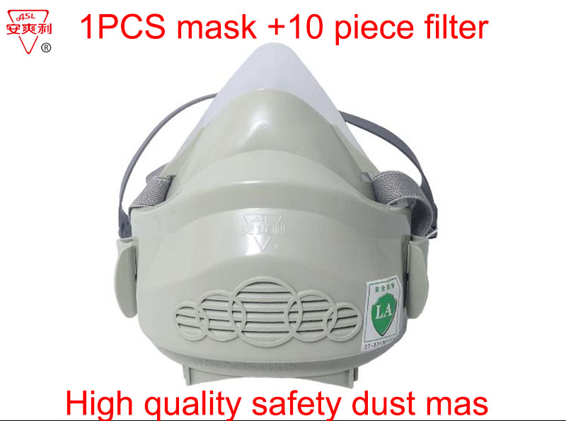 ASL Silica gel dust mask 1PCS mask +10 piece filter cotton Soft and comfortable Breathe smoothly  industrial safety dust mask outdoor tactical game transformers essential quality mask breathable and comfortable protective mask safety