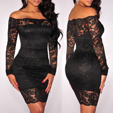 Solid Black Womens Lace Party Dress Long Sleeve Off Shoulder Sexy Hollow Out See Through Bodycon Ladies Party Dress