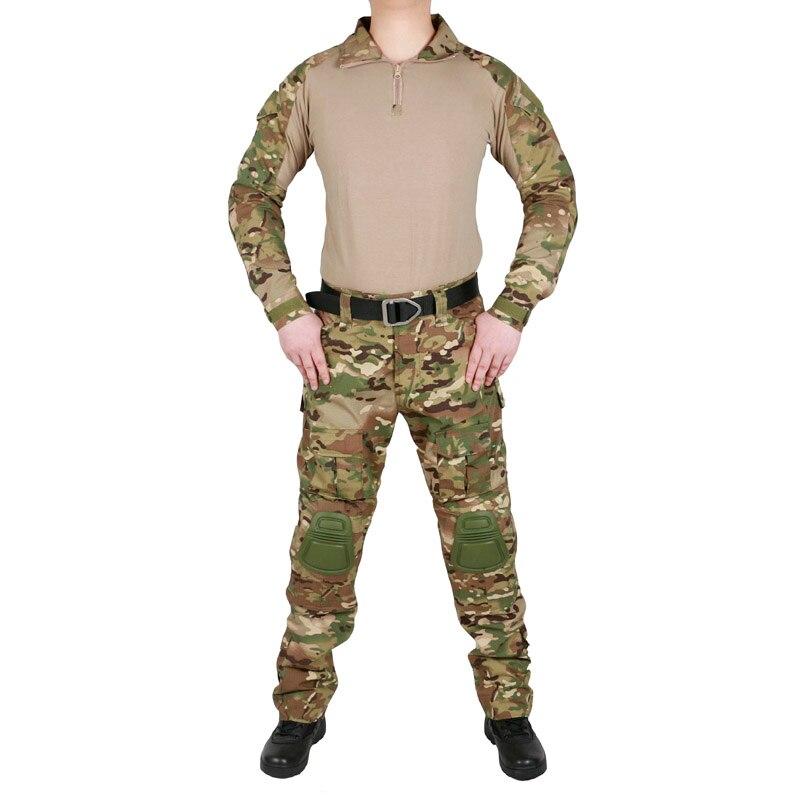 Tactical Camouflage Military Uniform Clothes Suit Men US Army Multicam Airsoft Combat Shirt Cargo Pants Elbow