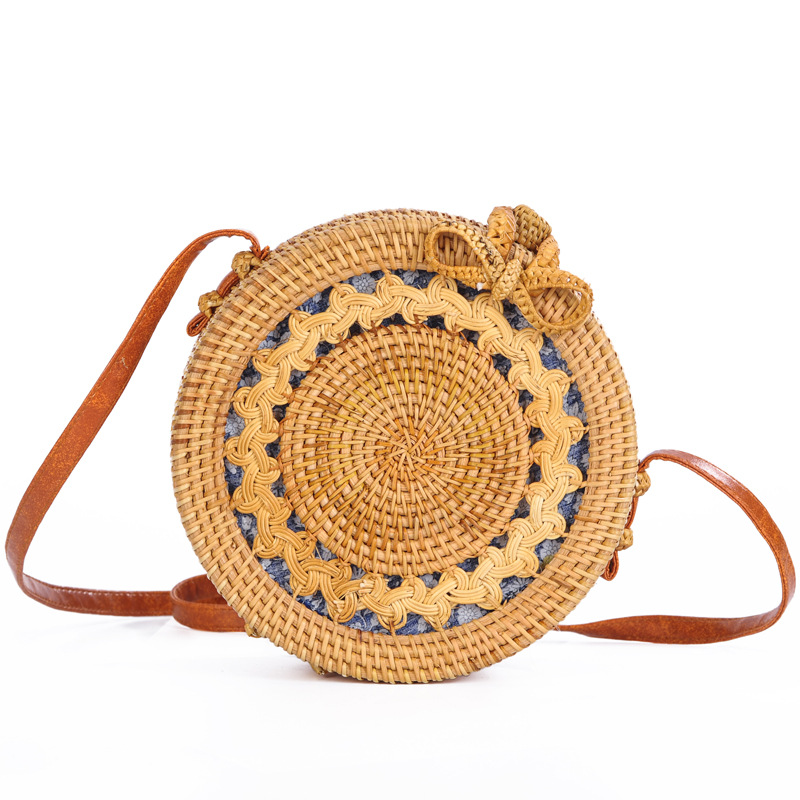 INS New Vietnamese hand-woven rattan bag Womans Summer Messenger Beach BagINS New Vietnamese hand-woven rattan bag Womans Summer Messenger Beach Bag