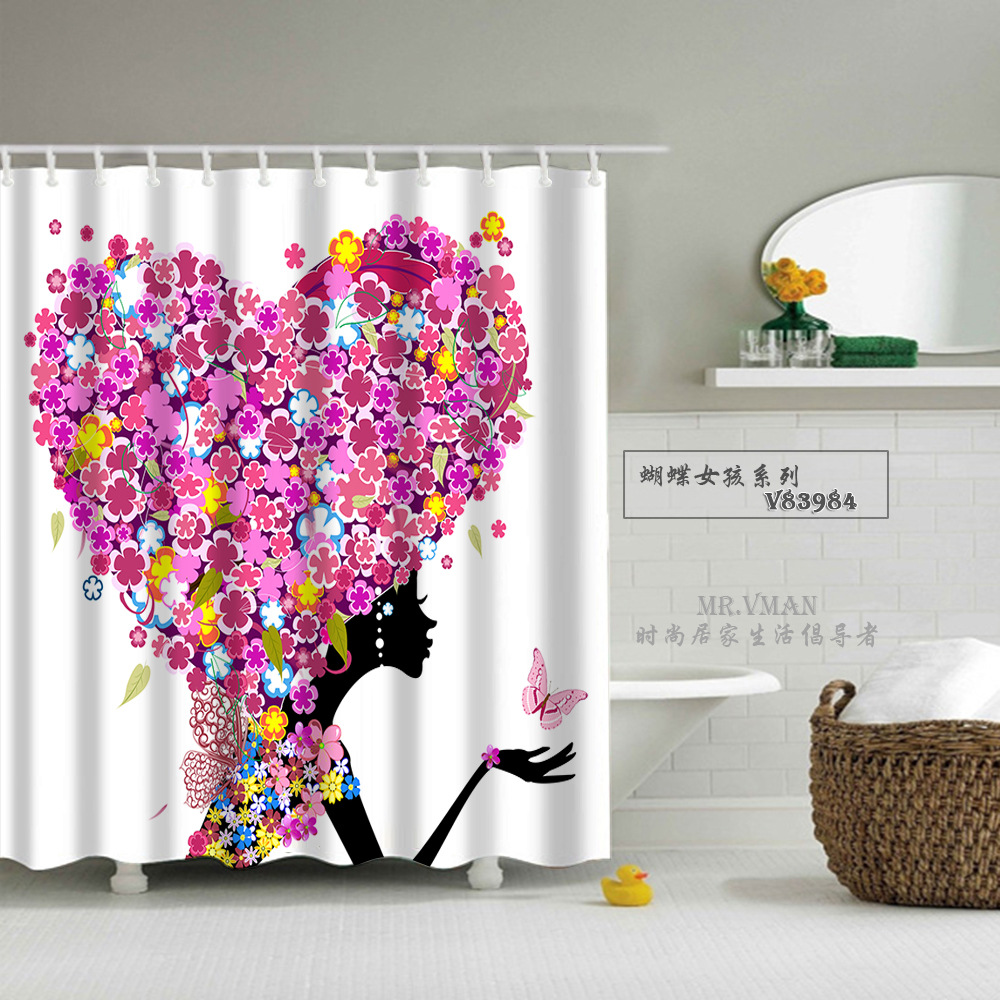 Good Quality Beautiful Girl Printed Shower Curtains for Living Bathroom 100% Polyester Bathing Curtain Cortinas