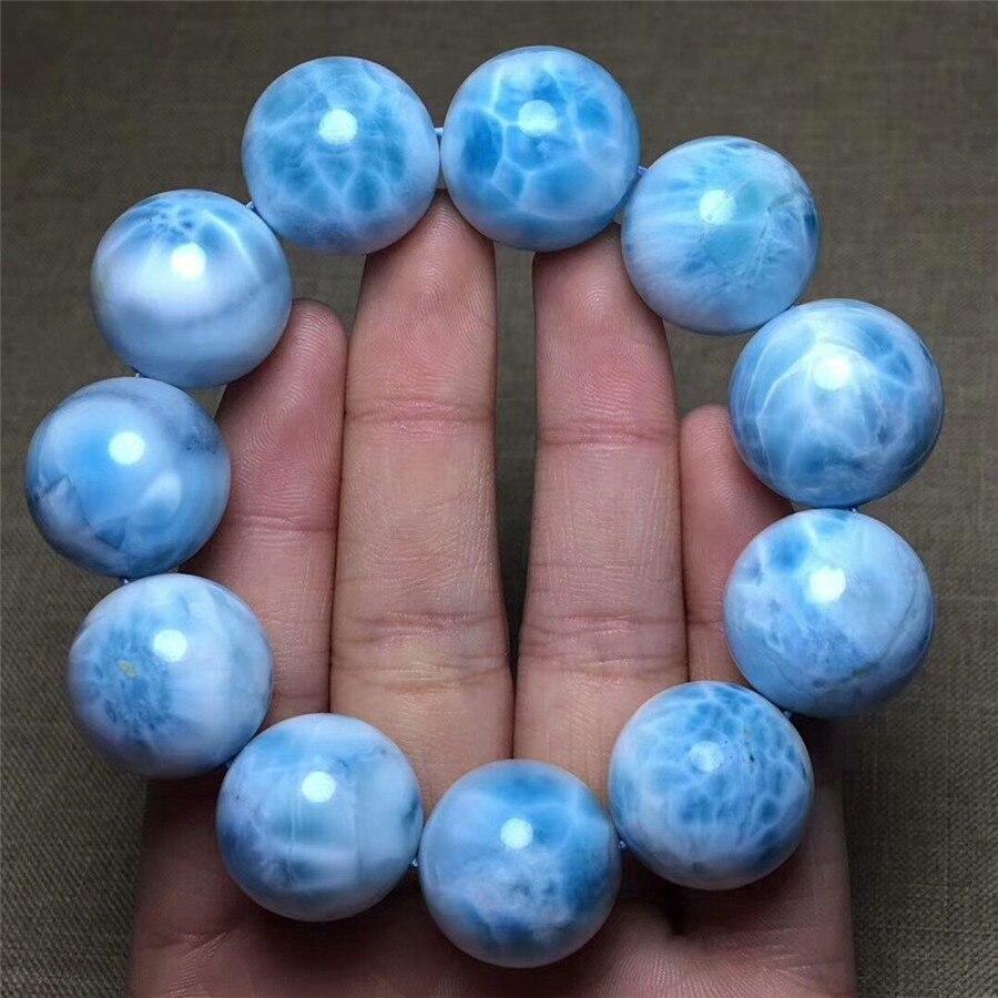 Из натуральной голубой лед Larimar камни камень большой бусины Для женщин браслет AAAAA 20 мм