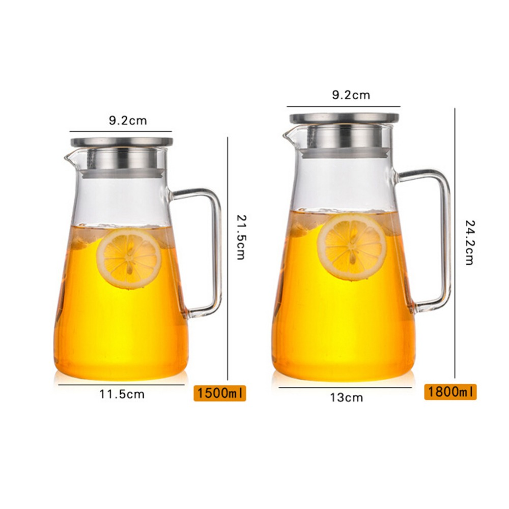 Heat-Resistant Cold Water Glass Bottle Explosion-Proof High Temperature Resistant Glass Jug Pot Kettle With Lid