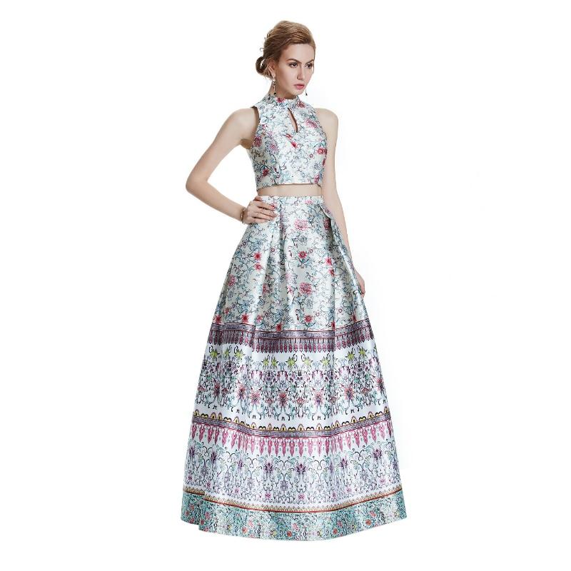 W.JOLI New Sexy Bunga Corak Long Statin Evening Dress 2017 Majlis - Gaun acara khas - Foto 3