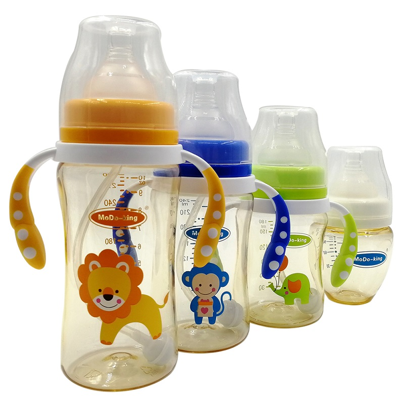 MoDo-king Baby Feeder/Feeding Bottle PPSU Milk Feeding Silicone Nipple Drinking Bottle 120/180/240/300ml Baby Sippy Cup