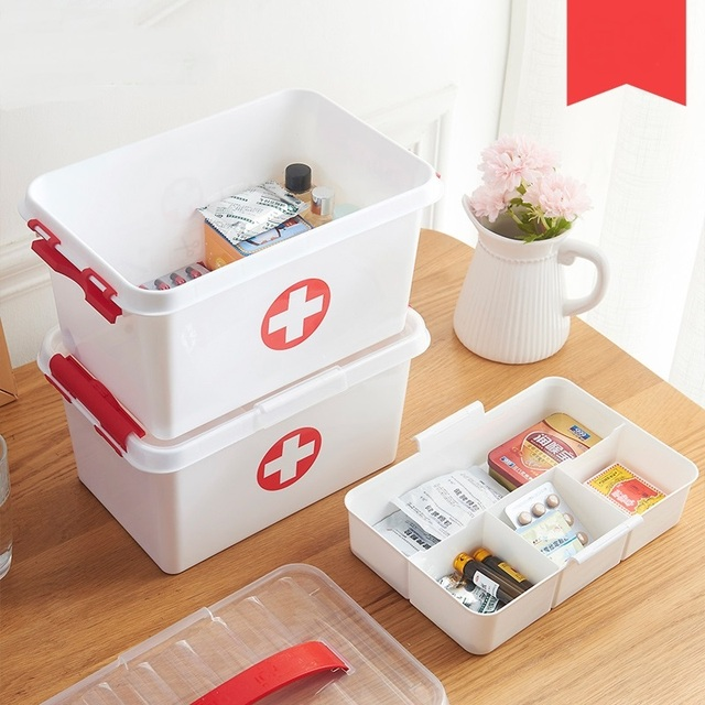Portable Double   Layer Medicine Box Household Small Medicine Box Household Medicine  Storage Box First Aid