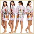 Robes For Women Sexy Women's Print Half Sleeve Satin Polyester Sleep Lounge Robes Satin Kimono Satin Robes