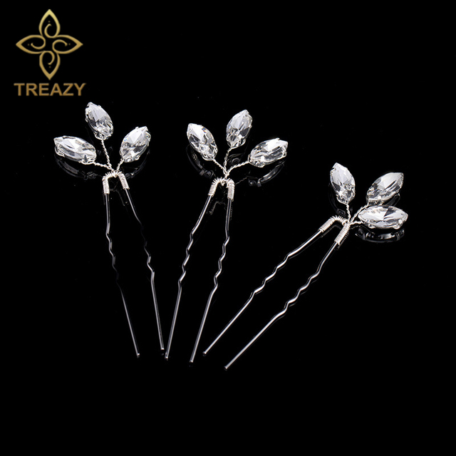 TREAZY 3pcs/lot Bridesmaid Bridal Crystal Leaf Hairpins Handmade Women Wedding H