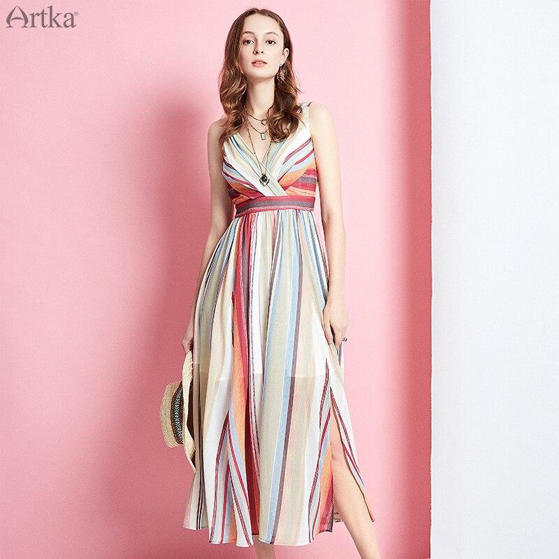 ARTKA 2019 Sommer Frauen Kleider Spaghetti Strap V ausschnitt Gestreiften Kleid Für Frauen Hohe Taille der Dünnen Chiffon Lange Kleid LA11497X-in Kleider aus Damenbekleidung bei  Gruppe 2