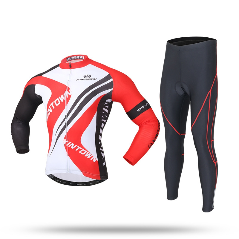 XINTOWN Fleece Thermal Men Cycling Jersey Suits Sets Winter Bicycle Long Sleeve Jackets+Trousers Sets Couple Bicycle Clothing цена