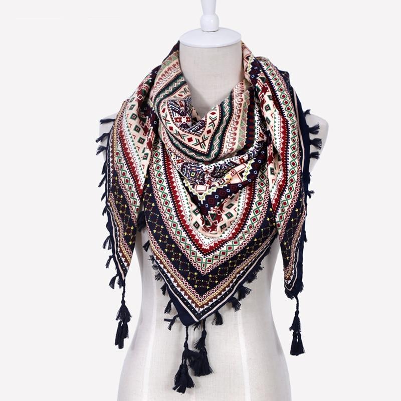 Fashion Women Big Square Printing Tassels Autumn Winter Retro   Scarf   Cotton india floural Headband   Wraps   Foulard Femme 110cm
