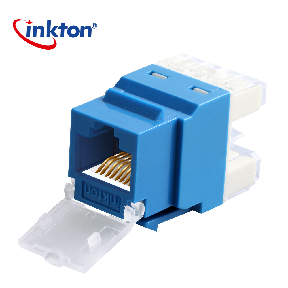 hight resolution of inkton network module utp cat5e rj45 connector gold plated module anti dust unshielded pass through keystone jack in plug connectors from consumer