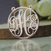 Wholesale Personalized Circle Monogram Necklace 925 Silver Custom 3 Initial Pendent Rose Golden Nameplate 2 Hooks