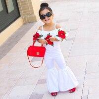 1-5 t Girl Rose Floral bordado Camisa + Pantalones Flare 2 piezas conjuntos niños moda Offshoulder trajes niños calle equipo