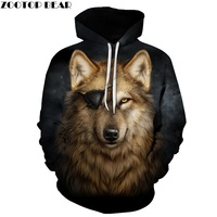 One Eyed Wolf Hoodies 3D Men Sweatshirts Cool Pullover Fashion Tracksuits Autumn Winter Male Outwear Boy
