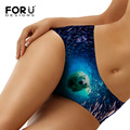 FORUDESIGNS Sexy Underwear Женщины Бесшовные Трусики 3D Животное Белого Медведя на Морском дне Шаблон Трусики для Дам Белье Calsinha