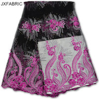 JXFABRIC High Quality African Tulle Lace Fabric With Different Colors Beads Hot Sale Nigerian Lace Fabrics