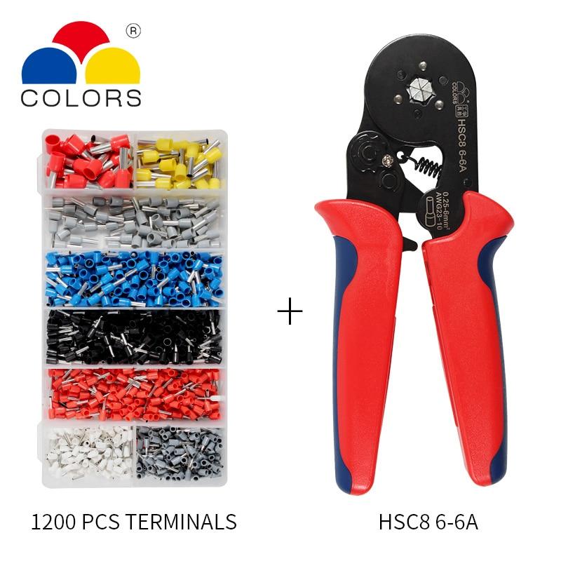 כלים יד כלים עצמי מתכוונן Crimping Plier + Crimping מסוף מגדיר מסופי Tube בכבלי חוט AWG23-10 Crimping פלייר יד Multi (1)