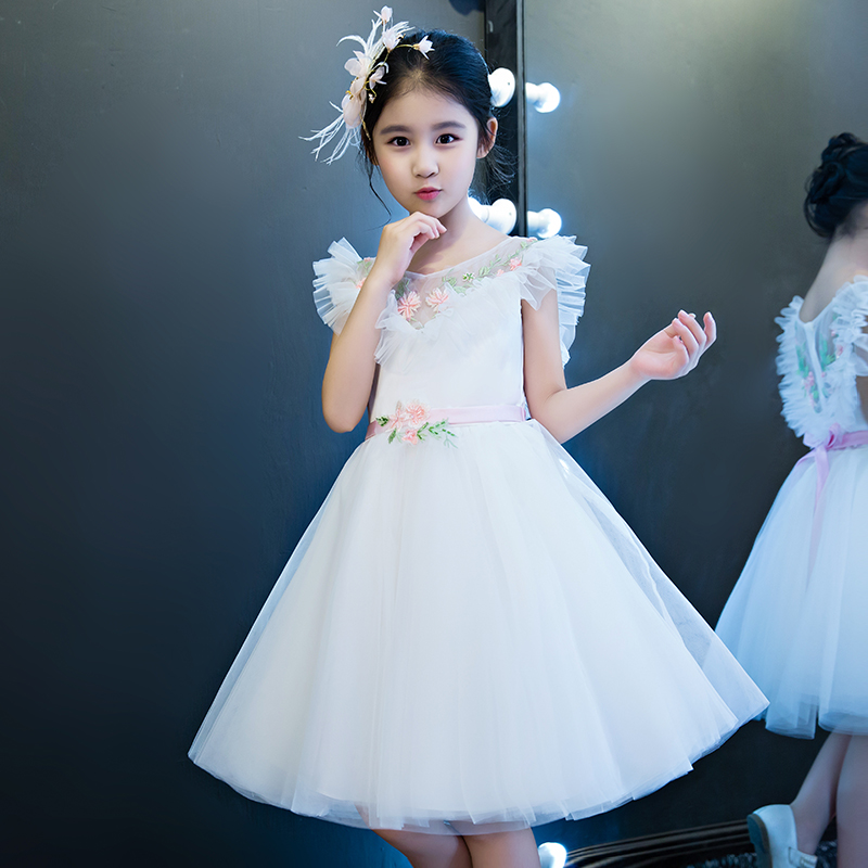 White Princess Dress 2018 Ball Gown Flower Girls Dresses V neck Holy Communion Dress Kids Pageant