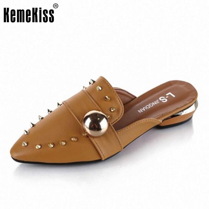 ФОТО Women Flats Sandals Fashion Slippers Pointed Toe Sandalias Flip Flops Rivets Shoes Women Flat Leisure Sandal Footwear Size 35-39