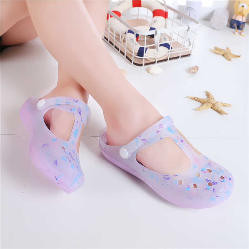 ... Candy Color Large Size Thick Sandals Woman Croc Anti-Skid Hole Jelly  Rose Flower Shoes ae1d2a818c5e