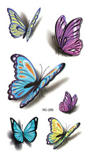 RC2206 Sexy Waist Shoulder Water Transfer Tattoo Decal Waterproof Temporary Tattoo Sticker Colorful Butterfly Fake Tattoo